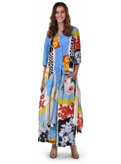 Alembika Blue Art Print Collared Maxi Dress SD610B