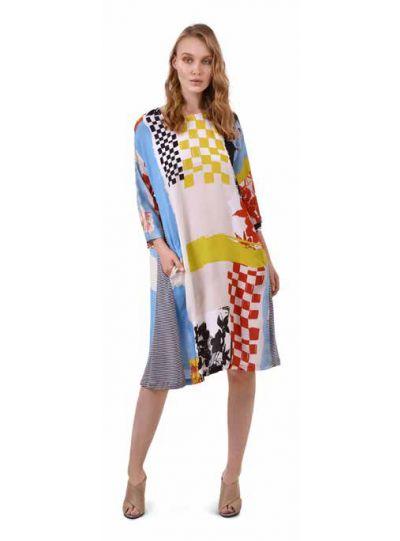 Alembika Multi Art Print Aline Dress SD613B