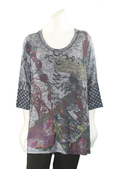 Inoah Grey Printed Pullover Tunic T208KN-K34