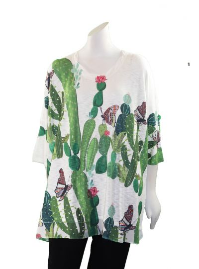 Inoah Over Sized White Cactus Top T326K-M66