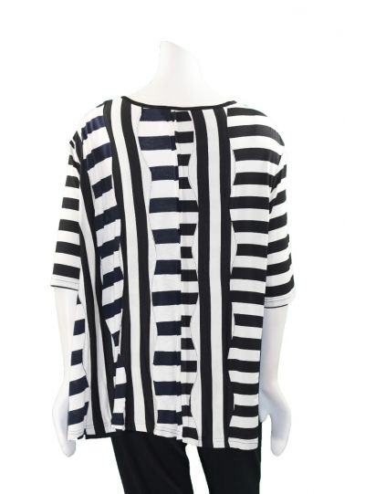 Redwood Court Plus Size Black/White/Navy Striped Tee T646BX