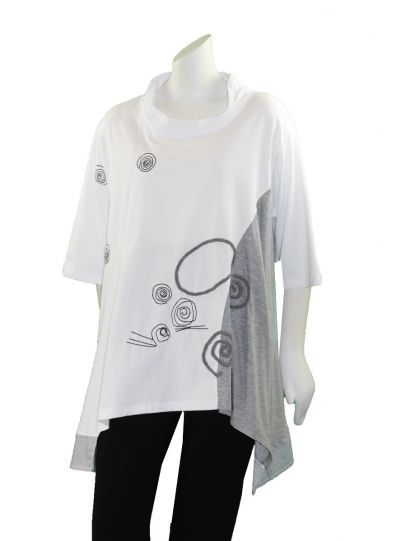 Redwood Court Plus Size White/Grey Funnel Neck Tunic T659X