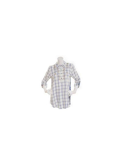 Multiples Plus Size Multi Roll Tab Sleeve Half Button Front Shirt M18206TW