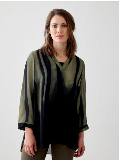 Q'Neel Plus Size Black/Green Sheer Pullover Blouse 83164-8474