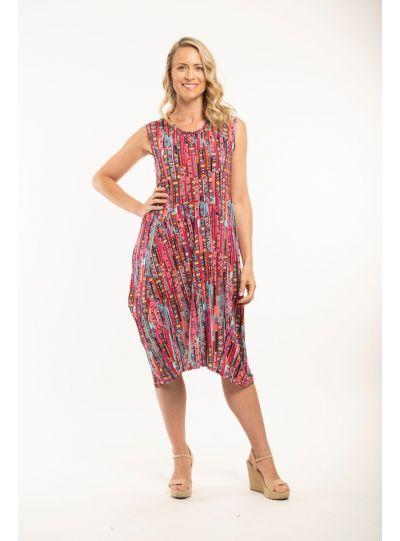 Orientique Plus Size Multi Printed Pullover Dress 11060
