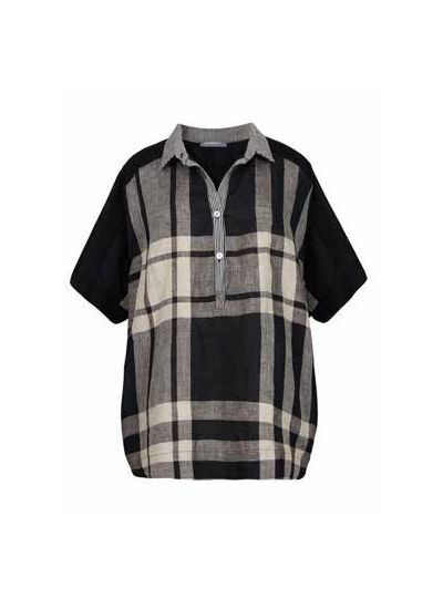 Alembika Black Plaid Half Button Tunic ST113B