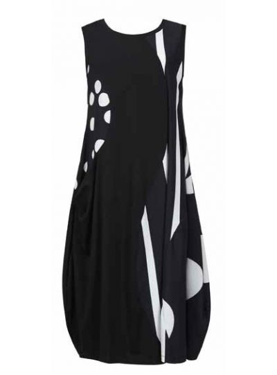 Alembika Plus Size Black/White Polka Dot/Striped Dress TD604B