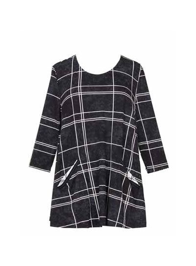 Alembika Black/White Check 2 Pocket Tunic ST137B