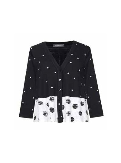 Alembika Black/White Polka Dot Button Front Cardigan SJ304W