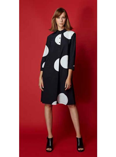 Alembika Black/White Polka Dot Pocket Dress TD601B