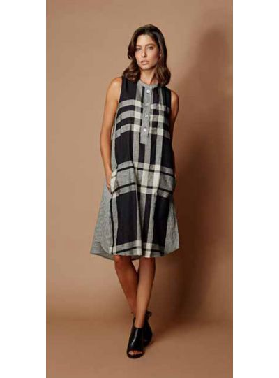 Alembika Plaid Half Button Sleeveless Dress SD413B