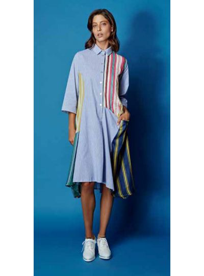 Alembika Multi Patch Work Striped Dress SD405M