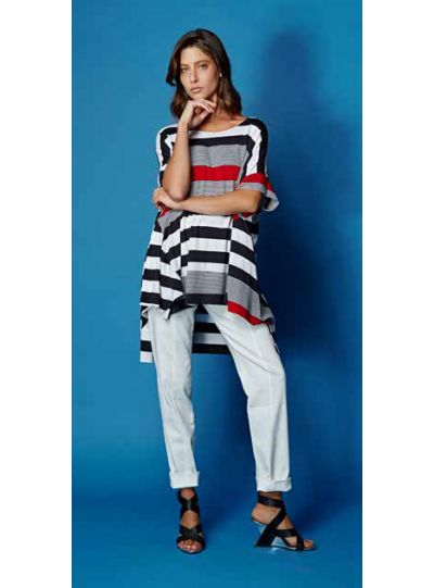 Alembika Red Striped Over Sized Tunic ST139R