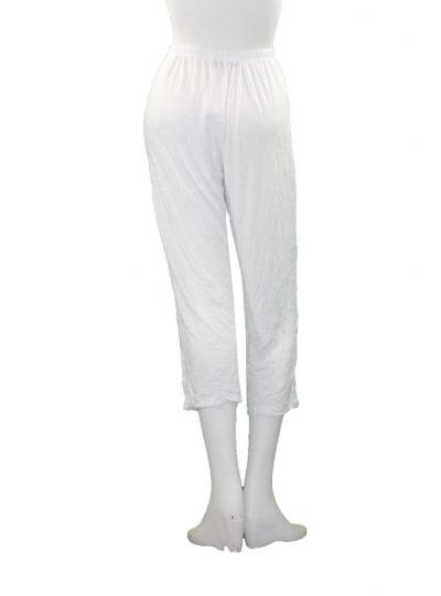 Comfy Plus Size White Crinkle Narrow Ankle Pant WC230
