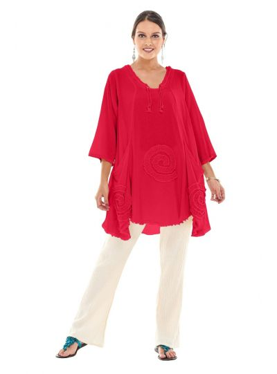 Oh My Gauze Red Circle Pullover Tunic