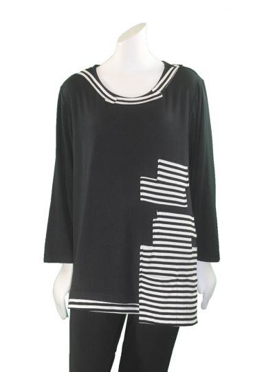 Redwood Court Plus Size Black/White Striped Tee WT555C