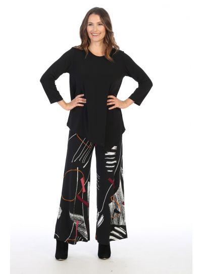 Jess & Jane Plus Size Printed Strings Pant Y3-1420