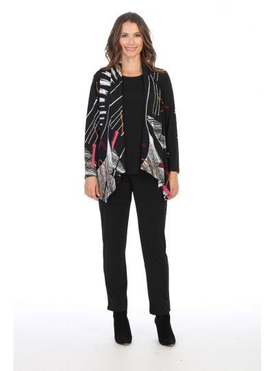 Jess & Jane Plus Size Printed Strings Jacket Y14-1420