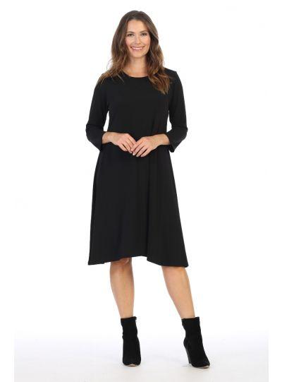 Jess & Jane Plus Size Black 3/4 Slv Dress Y6