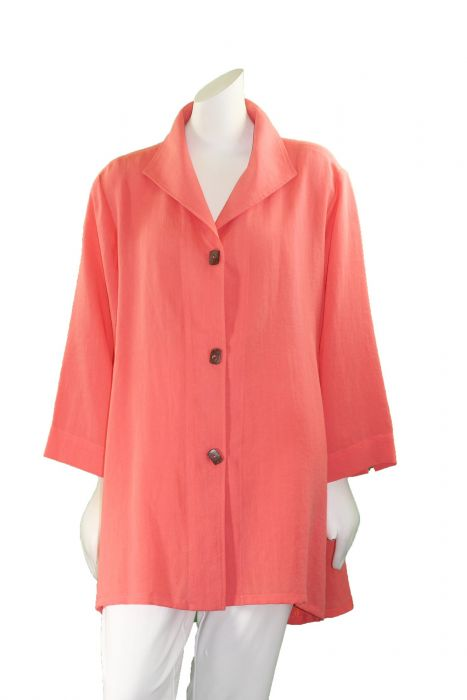 7fa800dd850 Fridaze Plus Size Papaya Long Coconut Button Swing High Low Shirt