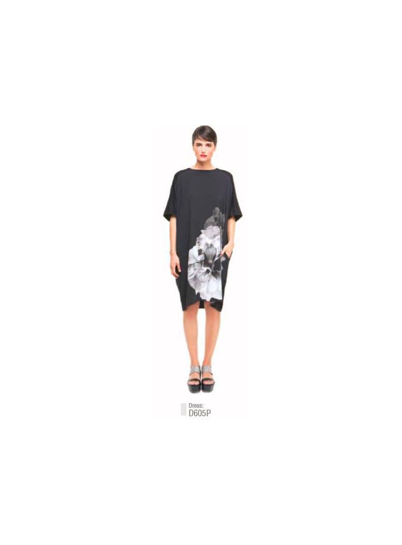 052a6b0223e Alembika Black Floral Peony Tunic Dress D605P0