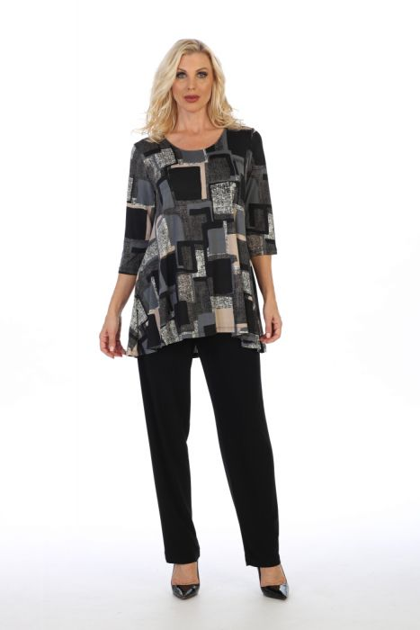 ba408017f1d Caribe Plus Size Black/Tan/Grey Printed 2 Pocket Tunic C1431-P349