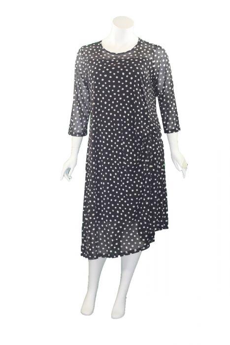 Comfy Plus Size Black/White Polka Dot Mesh Malibu Dress ES3024